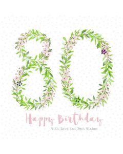 Happy Birthday - 80 Card