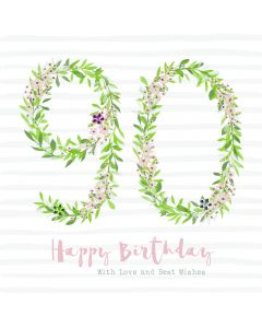 Happy Birthday - 90, with love and best wishes card