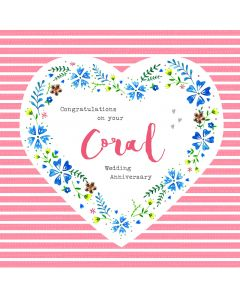 Congratulations on your Coral Wedding Anniversary Card