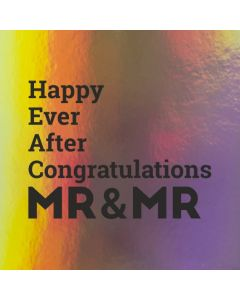 Happy Ever After Congratulations MR & MR - Holographic Wedding Card