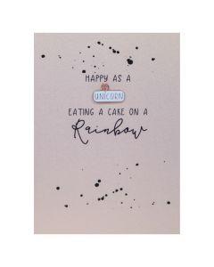 Happy as a UNICORN eating cake on a rainbow - Enamel Pin Card