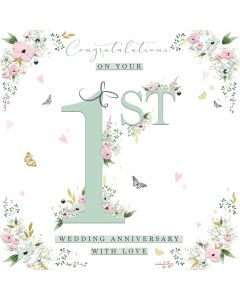 Congratulations on your 1st Wedding Anniversary with Love Card