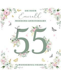 On your Emerald Wedding Anniversary 55 wonderful years card